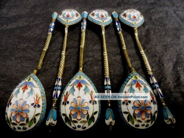 Set Of 6 Imperial Russian Silver 84 Cloisonne Shaded Enamel Spoons By Alexeyev Russia photo