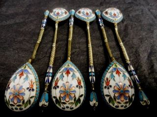 Set Of 6 Imperial Russian Silver 84 Cloisonne Shaded Enamel Spoons By Alexeyev photo