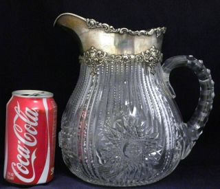19c.  Gorham Sterling Mounted Cut Glass Water Pitcher photo