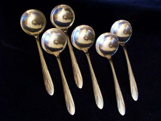 National Silver Company Six (6) Silverplate Empire Soup Spoons Classic Antique photo