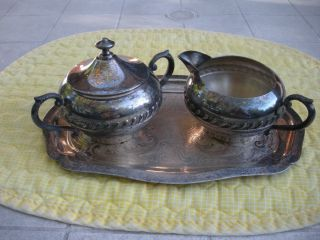 Vintage Cream And Sugar With Lid On Tray (4pc) Silver On Copper photo