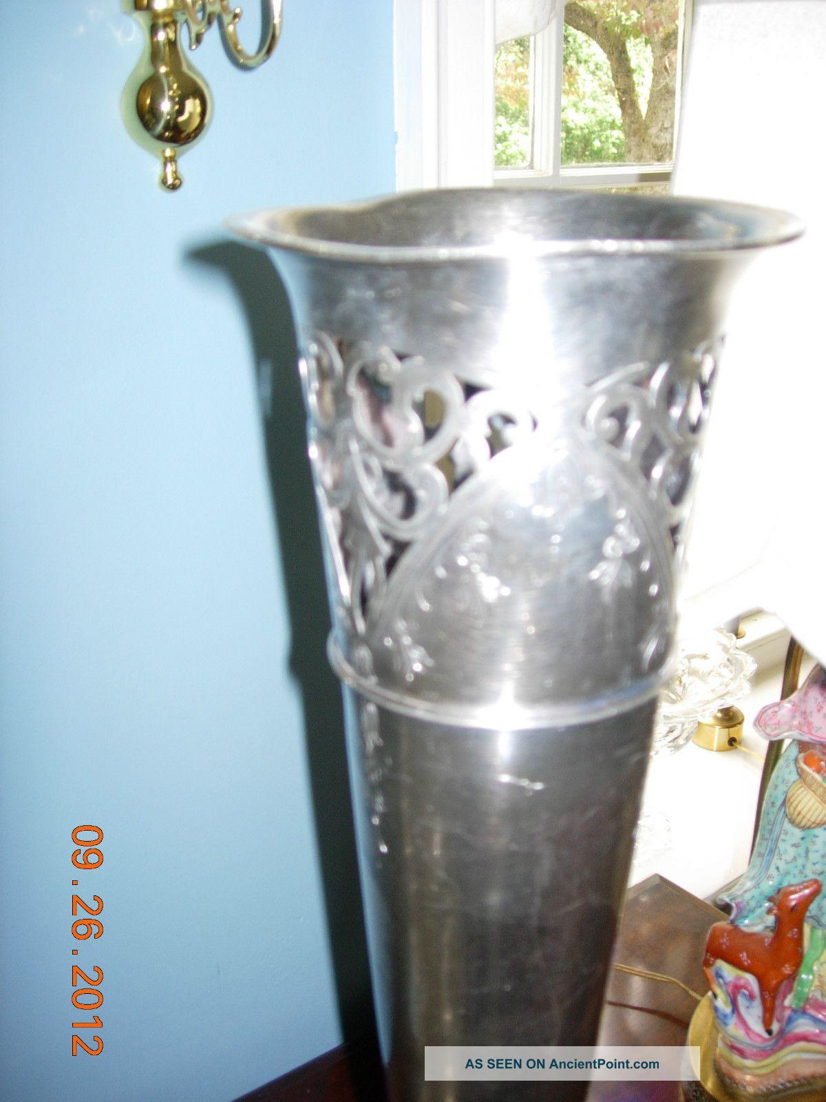 Wilcox Metal Craft Co.  Quadruple Silver Plate Mid 1800 ' S Trumpet Vase Vases & Urns photo