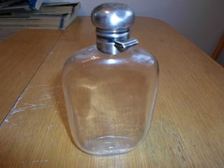 19th Century Glass Flask With Sterling Top,  Has Monogram Bt On The Top.  1/2 Pint photo