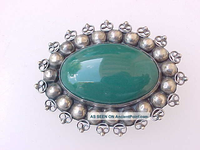 Vintage Sterling Silver & Large Dark Green Stone Mexico Pin Mexico photo