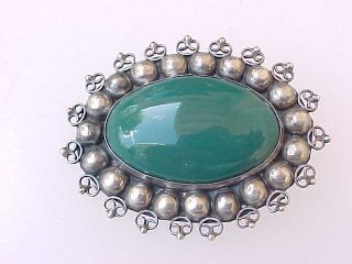Vintage Sterling Silver & Large Dark Green Stone Mexico Pin photo