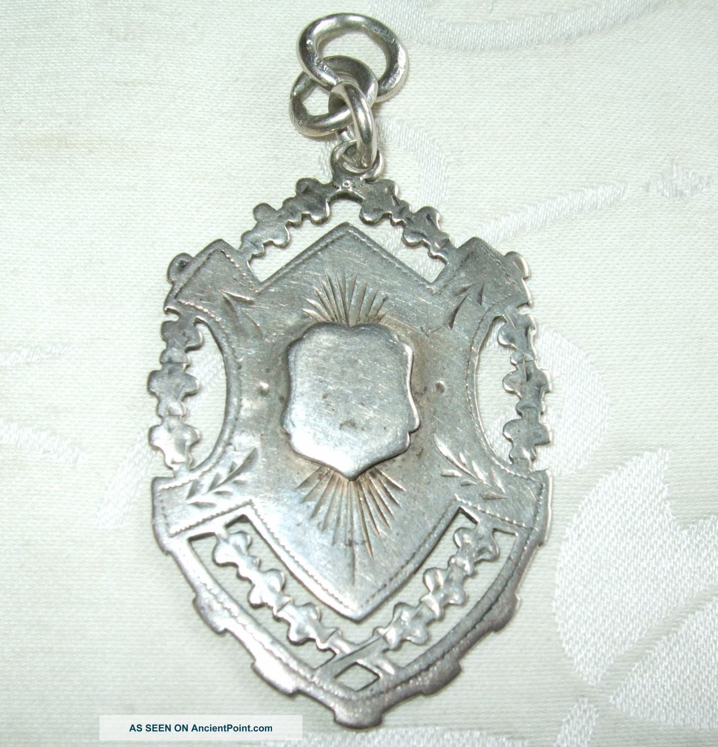 Impressive Antique Sterling Silver Pocket Watch Fob Medal 14.  7 Grams Durban 1918 Pocket Watches/ Chains/ Fobs photo