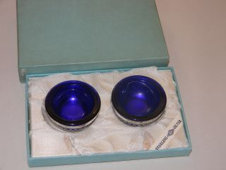 Antique Webster Sterling & Cobalt Glass Pair Salt Cellars W / Box photo