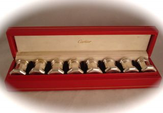 Vintage Cartier Sterling Silver Salt & Pepper Shakers Boxed Set Of 8 photo