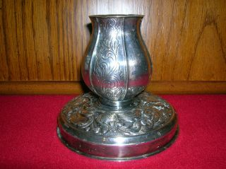 Vintage Silver Plated Ornate Candlestick / Candle Holder,  Made In Denmark, photo