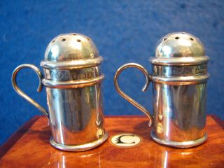 Solid Silver Edwardian Miniature Duster Pepper Pots 1912 With Handles. photo