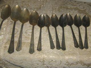 12 Piece Branford Silver Plate Flatware Spoon photo