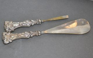Victorian Sterling Silver Handled Shoe Horn & Tweezers Ornate photo