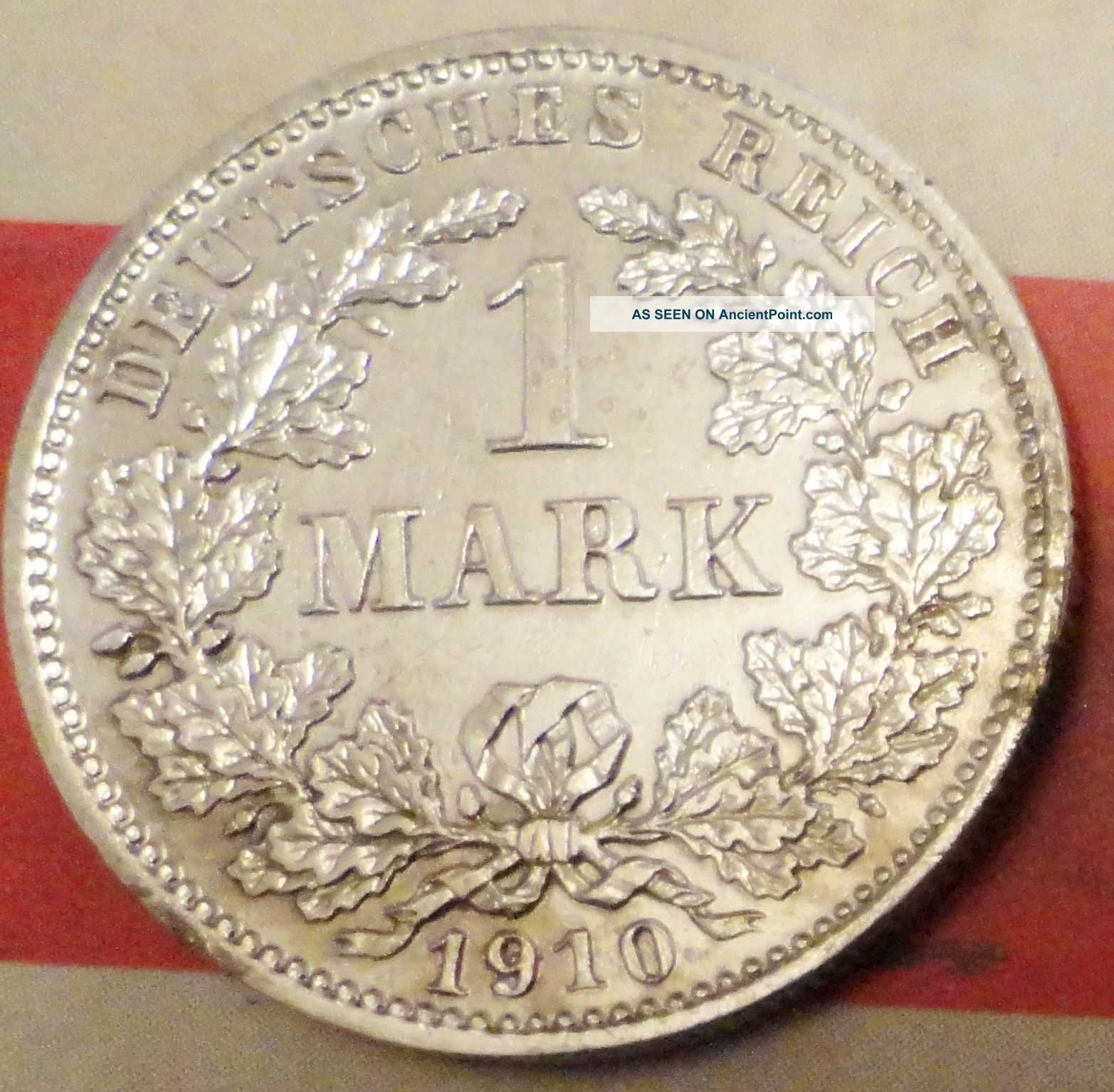 Extremly Rare 1 Mark 1910 D Germany Silver Coin Munich Mint Coin Silver (.900) photo
