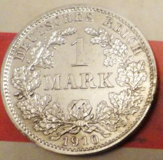Extremly Rare 1 Mark 1910 D Germany Silver Coin Munich Mint photo