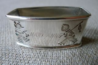 Antique Child ' S Sterling Silver Webster Napkin Ring With Bear And Fishing Cat photo