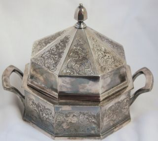 Antique Derby Silver Silverplate Butter Dish With Glass Plate Insert Ornate 1638 photo