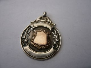 Good Vintage Silver & Rose Gold Pocket Watch Chain Fob Medal Fattorini 1919 photo