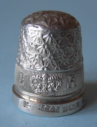1953 Queen Elizabeth Ii Coronation Solid Silver Thimble,  Hg&s,  Hm Birmingham photo