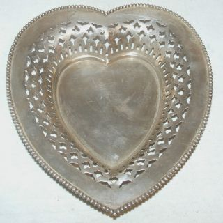 Sterling Silver Heart Shaped Reticulated Dish; 8
