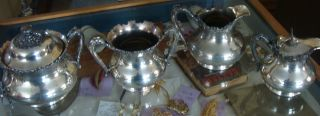 Reed & Barton Antique Silverplate 2 Creamer And 2 Sugar Bowls 3515 3516 photo