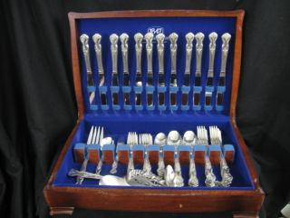 62pcs 1951 Rodgers Magnolia Silverplate Flatware Set photo