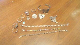 Silver Jewelry Lot All Mark Scrap 74.  8 Grams photo