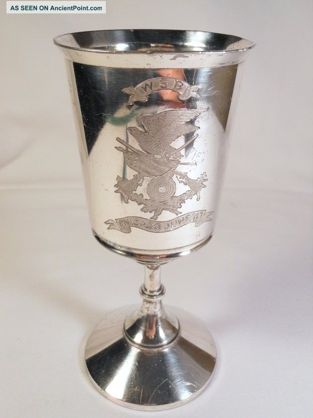 Wsb Chicago Sharp Shooters 1887 Silverplate Trophy Westlichen Schuetzen Bund Vases & Urns photo