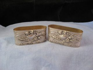 Serviette Napkin Ring Art Nouveau Wine Grape Vine Flowers Wheat Silver X2 Pair photo