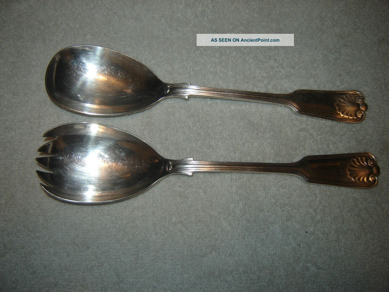 Israel Freeman & Son Silverplate Salad Fork & Spoon Ifs Ltd Shell Other photo