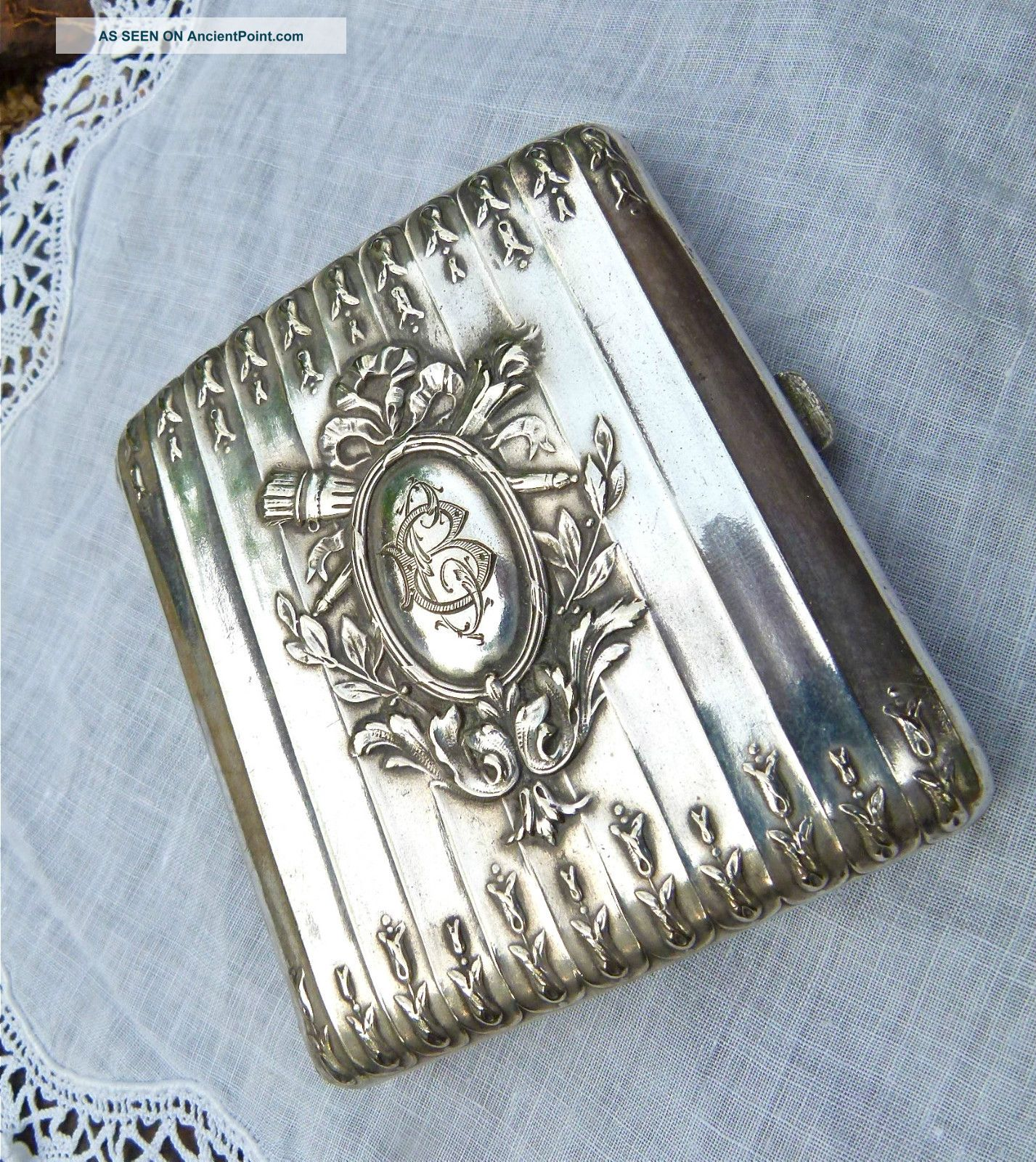 Exquiste Antique Napoleon Iii Solid Siver Initialed Case 77.  5 Grams France photo