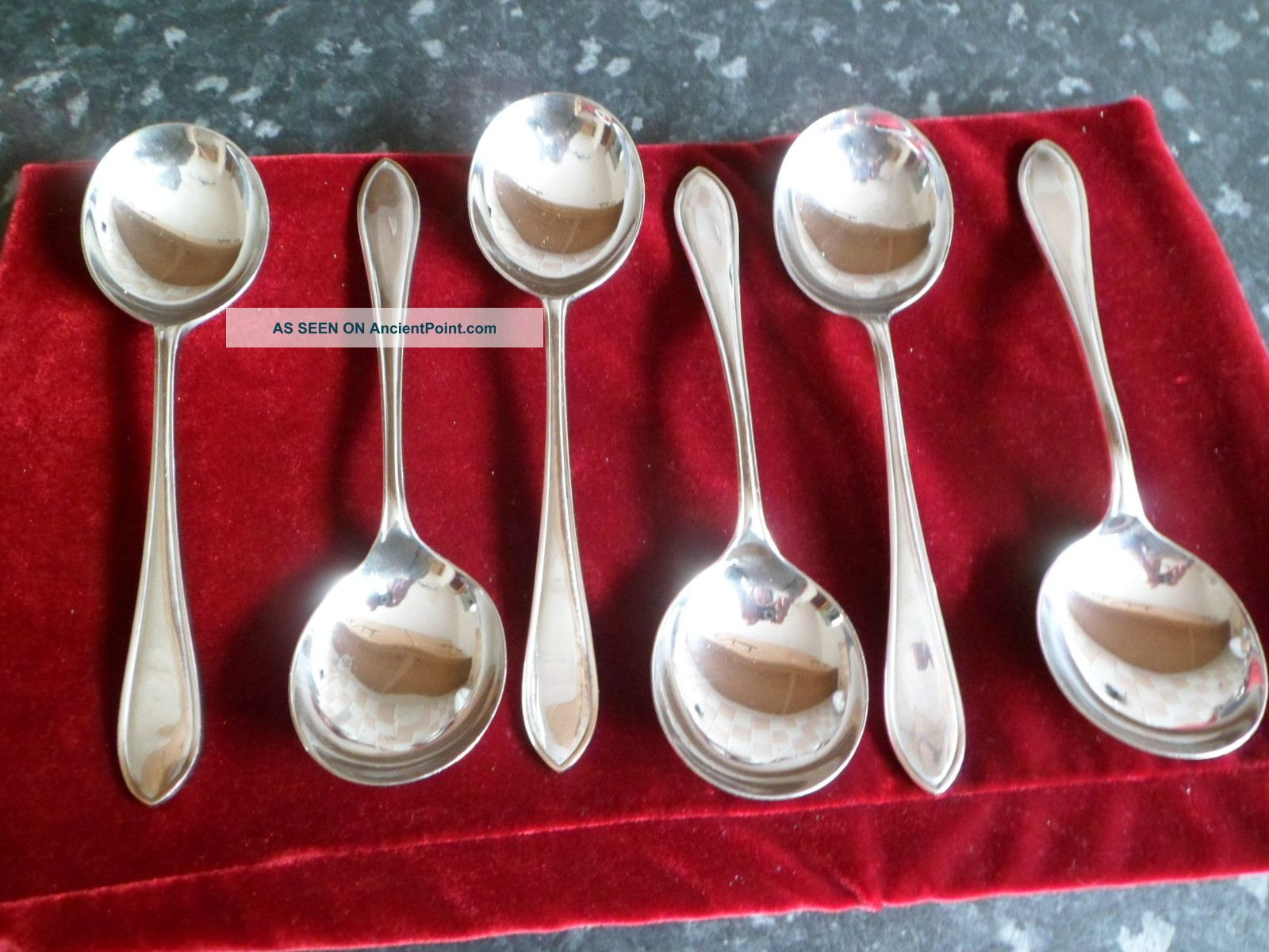 6 Silver Plated Soup Spoons Other photo