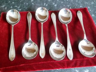 6 Silver Plated Soup Spoons photo