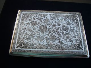 Spectacular Antique Signed Solid Silver Persian Islamic Cigarette Card Case photo