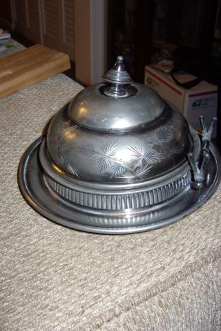 Reed & Barton Silver Plated Butter Cheese Dish.  Quadruple - Gorgeous - Slight Damage photo