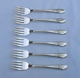 6 Pcs.  Triumph 1941 Pattern Salad Forks Wm Rogers Mfg Extra Plate Silverplate photo