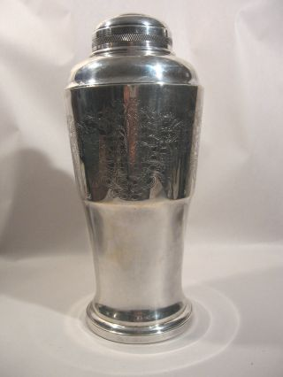 Cocktail Shaker Mixer Silverplate Floral Design Pattern Art Prata 90 M R Vintage photo