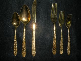 6 Piece Gold Tone Flatware Silverware Set photo