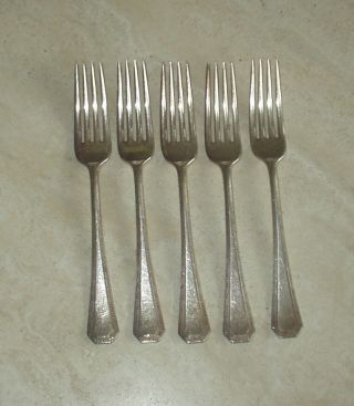 R.  Wallace 1835 Silverplate Forks Greek Key Pattern photo