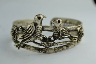 Asian Rare Old Collectibles Wonderful Handwork Tibet - Silver Pair Bird bracelet photo