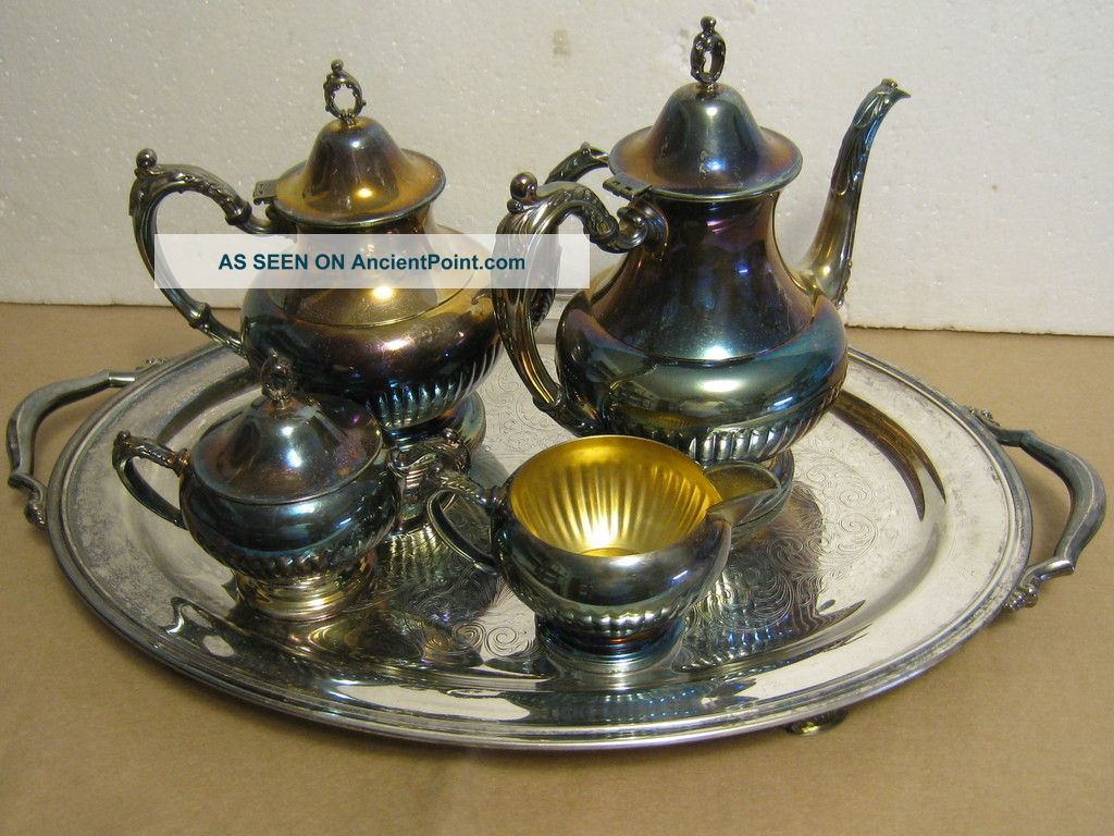 Vintage Oneida Ol Usa Silverplate Tea Coffee Sugar & Creamer & Tray 6 Pc.  Set Tea/Coffee Pots & Sets photo