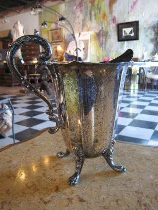 Antique Silver Plated Water Pitcher On Paw Feet W/ Hallmark Underneath photo
