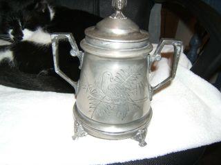 Antique Aesthetic Movement Triple Silver Plate Sugar Bowl W/ Birds & Faces photo