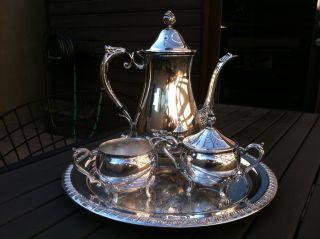 Vintage Leonard Silverplated Coffee Tea Set photo & Silver - Silverplate - Tea/Coffee Pots \u0026 Sets | Antiques Browser