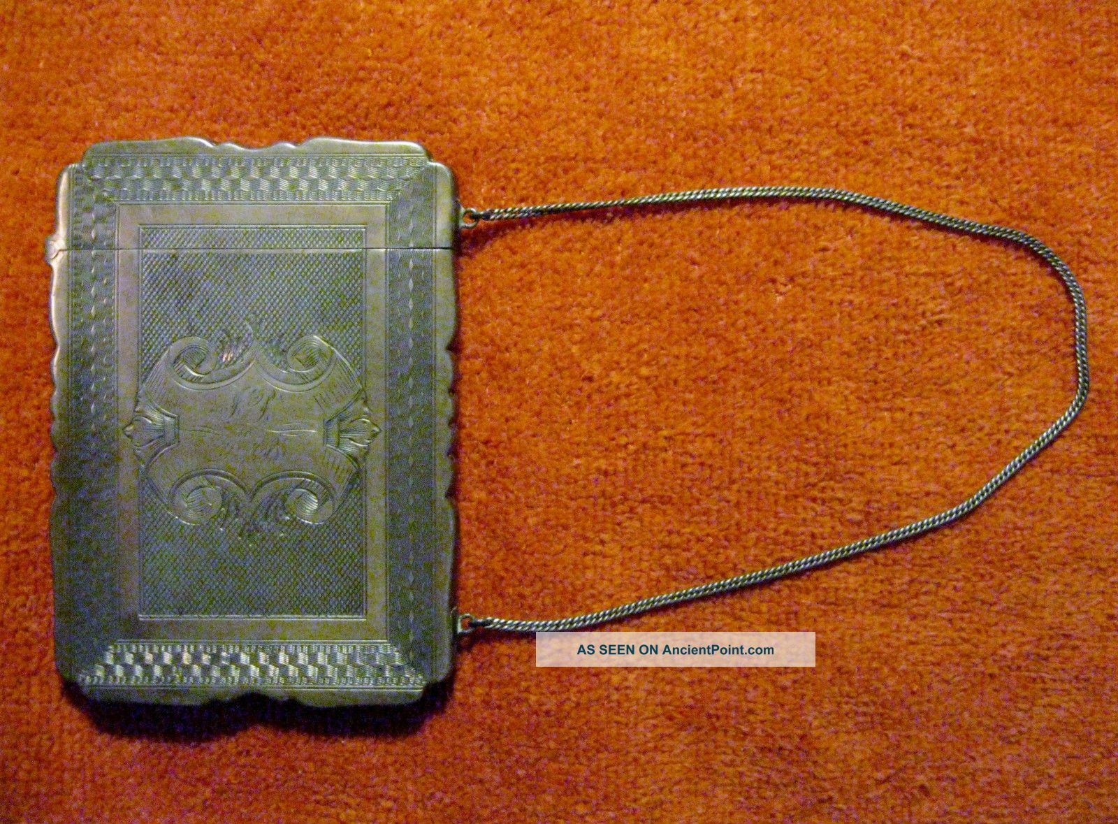 Coin Silver Lady ' S Card Case W/chain Albert Coles,  N.  Y. Coin Silver (.900) photo