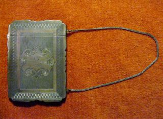 Coin Silver Lady ' S Card Case W/chain Albert Coles,  N.  Y. photo