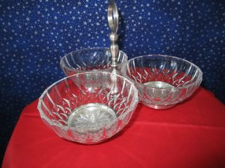 Signed Italian 3 Section Crystal Relish Dish W/ Silver Plated Stand & Bowl photo