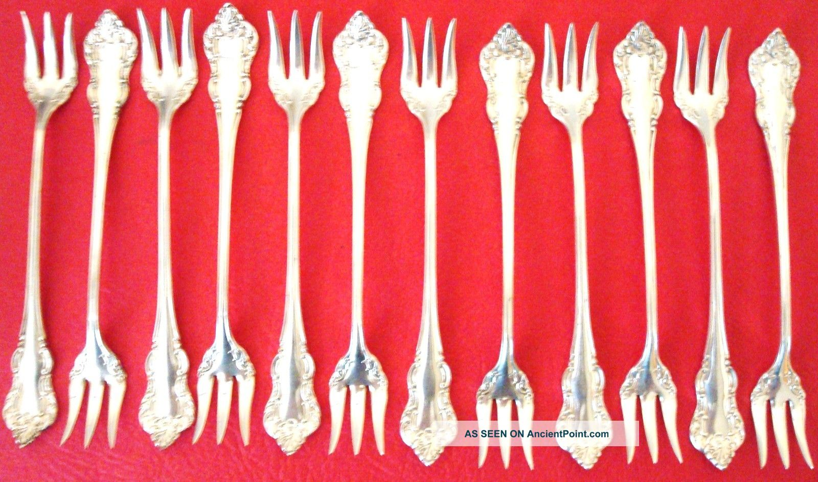 Set Of 12 A.  S.  Co.  16 1857 Silver Plated Olive - Pickel Forks,  Ex.  Condition Other photo