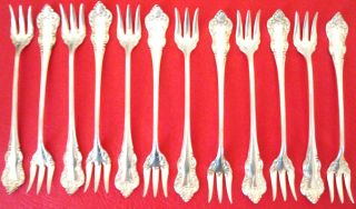 Set Of 12 A.  S.  Co.  16 1857 Silver Plated Olive - Pickel Forks,  Ex.  Condition photo