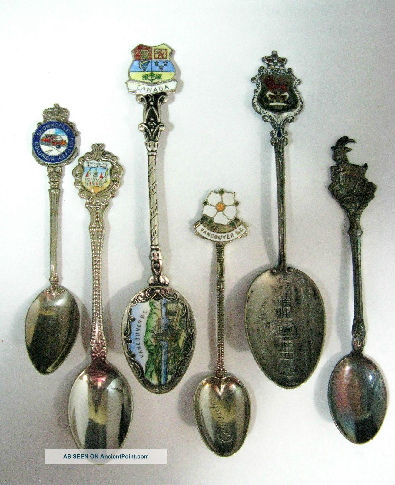 Six Silver & Mixed Metal Canada Souvenir Spoons.  Vintage Condition Souvenir Spoons photo