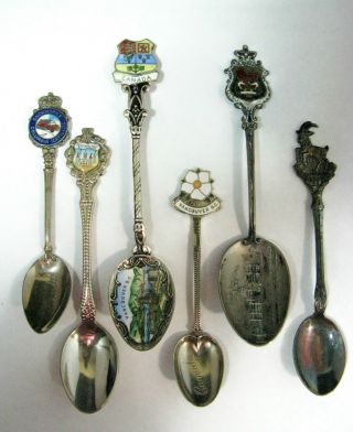 Six Silver & Mixed Metal Canada Souvenir Spoons.  Vintage Condition photo
